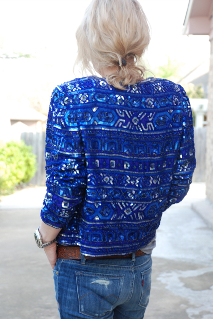 Back of blue jacket