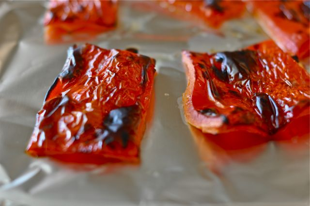 Peppers in roasting dish